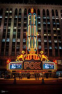 detroit Fox_Theatre_at_Night